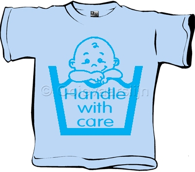 Baby T-shirt Handle with care blauw  maat 62