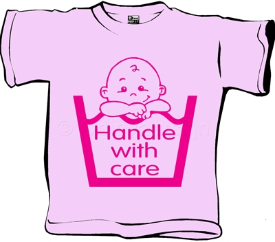 Baby T-shirt Handle with care roze  maat 62